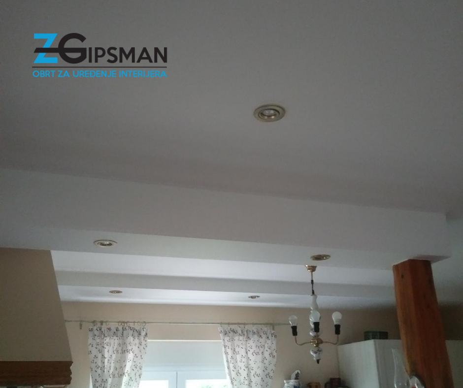 Spušteni stropovi u kuhinji  - ugrađena rasvjeta - Zgipsman - suha gradnja
